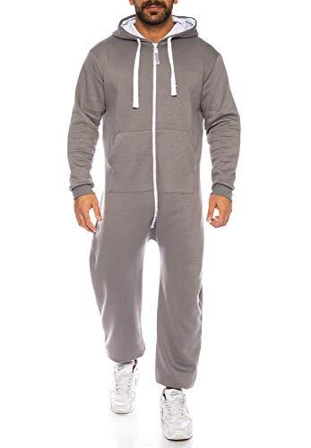 Raff & Taff Herren Jumpsuit Overall Trainingsanzug Fitnessbekleidung Onesie Ganzkörperanzug Basic und Schlicht (Anthrazit, 4XL)
