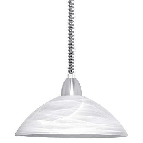 EGLO Pendelleuchte Lord 2, 1 flammige Hängelampe höhenverstellbar, Pendellampe klassisch, Wohnzimmerlampe hängend aus Metall in Nickel-Matt und Alabaster-Glas in Weiß, E27 Fassung