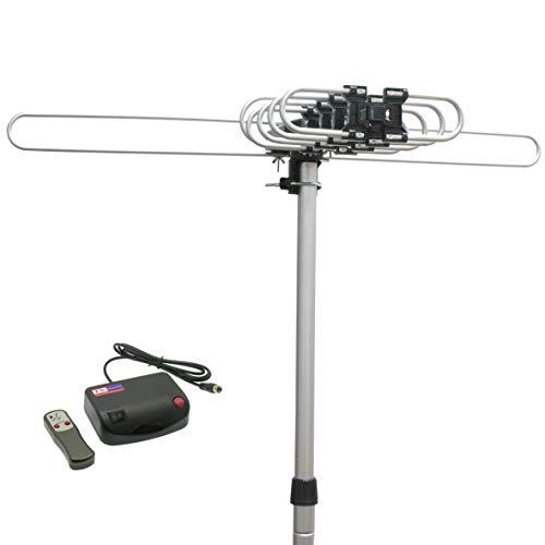 naxa outdoor tv antennas InstallerParts Snap On Amplified Outdoor HDTV Antenna - 150 Miles Long Range - Motorized 360 Degree Rotation - Wireless Remote Control