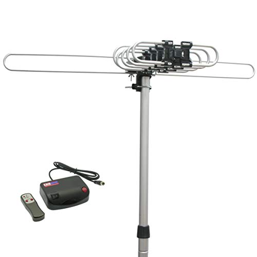 InstallerParts Snap On Amplified Outdoor HDTV Antenna - 150 Miles Long Range - Motorized 360 Degree Rotation - Wireless Remote Control