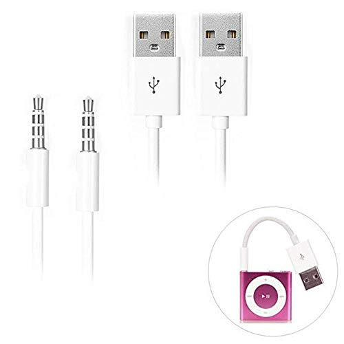 iPod Shuffle Cable, iAbler 2 Pack 3.5mm Jack/Plug to USB USB Power Charger Sync Data Transfer Cable for iPod Shuffle 3rd 4th 5th MP3/MP4