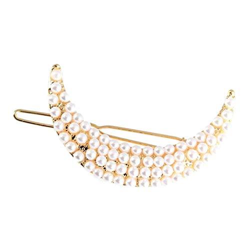 SM SunniMix Ladies Moon Haarnadel Perlen Haarspange Haarspange Kopfschmuck Styling Tool - Silber - Golden