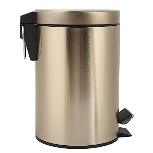 Withou Papelera escalonada de acero inoxidable de 3 a 5 l, con tapa, apto para baño, cocina, sala de estar, dormitorio, apto para familia, cocina (tamaño : 5 L)