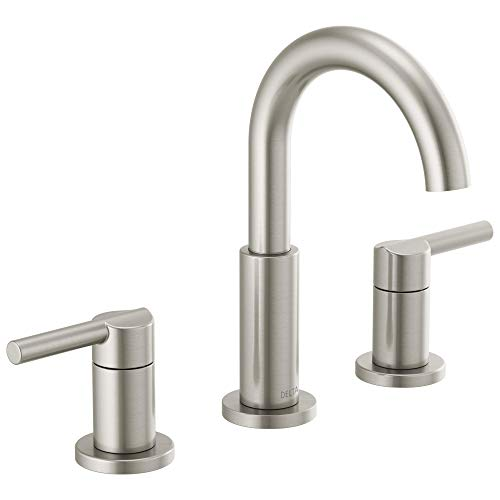 Delta Faucet Nicoli Widespread Bathroom Faucet Brushed Nickel, Bathroom Faucet 3 Hole, Bathroom Sink Faucet, Drain Assembly, Stainless 35749LF-SS