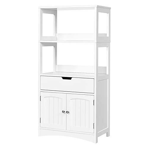GLACER Large Bathroom Floor Cabinet, Freestanding Multipurpose Storage Cabinet with Drawer, 2 Open Shelves and Door Cupboard for Bathroom, Kitchen or Living Room, 24 x 13 x 48 inches (White)