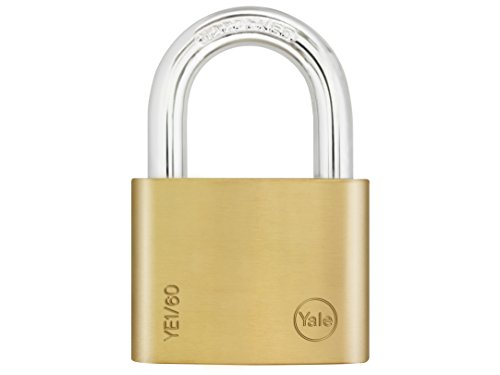 Yale YE1/60/132/1 Brass Padlock, 60mm, pack of 1, suitable for sheds and gates
