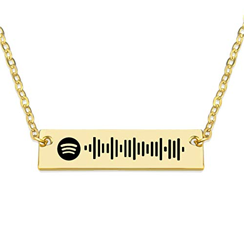 Jinlinjew Personalised Music Spotify Code Necklace for Women Men, Engraved Bar Spotify Necklace for Mother Couple