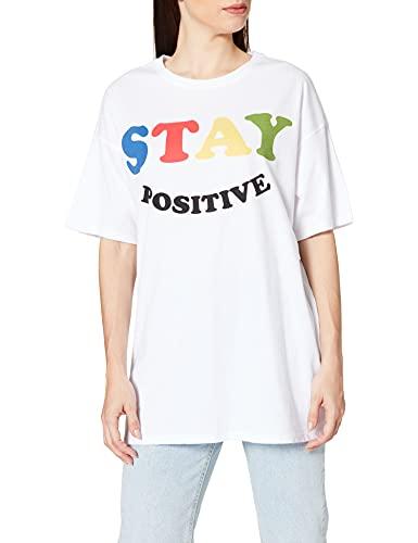 Only ONLHAPPY S/S Long Oversize T-Shirt JRS, Blanc, M Femme