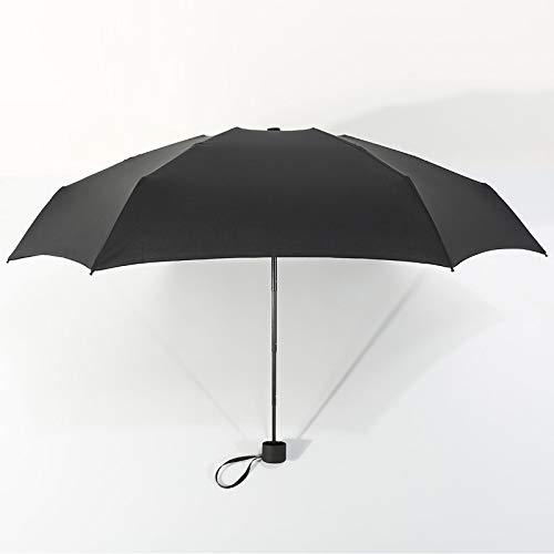weichuang Paraguas pequeño plegable de 180 g para la lluvia, para mujeres, regalo para hombres, mini sombrilla de bolsillo, para niñas, antiUV, impermeable, portátil, paraguas de viaje (color: negro)