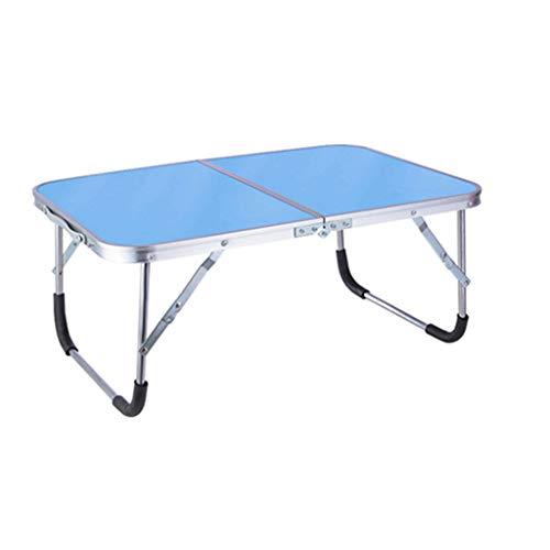 Büromöbel-LiuJF Kleine eettafel, bed-laptopstandaard, eenvoudig bureau, inklapbaar, houten bureau, verdikte plaat blauw