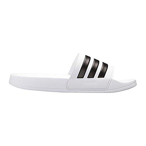 adidas Men's Adilette Shower Slide Sandal, Black/White, 7 M US