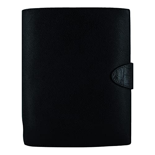 Filofax Calipso Organizer, A5 Size, Black – Soft Full Grain, Contrasting Print Leather Cover, Six Rings, Week-to-View Calendar Diary, Multilingual, 2022 (C022463-22)