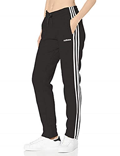adidas Essentials Women's 3-Stripes Fleece Joggers, Black/White, Medium