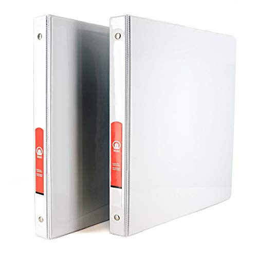 """1/2"""" 3-Ring View Binder with 2-Pockets - Available in White - Great for School, Home, & Office (2-Pack) - by Emraw"""