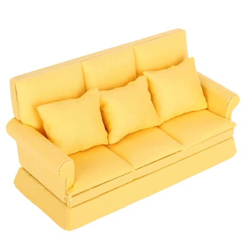 Germerse Sofá de casa de muñecas en Miniatura, sofá de casa de muñecas Sofá de Muebles de casa de muñecas, niños portátiles de Madera para niñas, (Yellow)