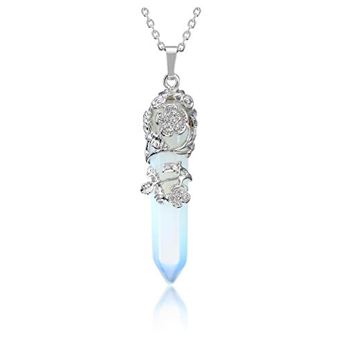 JSDDE Synthetic Opalite Crystal Necklace Silver Flower Wrapped Healing Gemstone Point Necklace Jewelry for Women