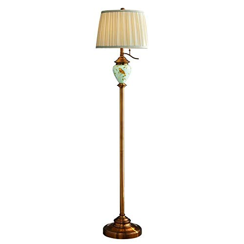 CENPEN Lámpara de pie Sala Sofá Dormitorio Mesita Estudio Plateado Cobre Pintado a Mano Pájaro Vertical Lámpara de Mesa -Lámpara de Pie