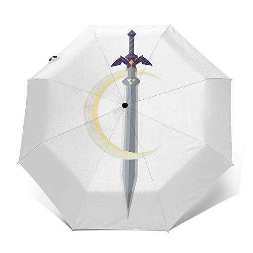 The Legend of Zelda Link Master Sword & Crescent Moon Paraguas Plegable Compacto de Apertura y Cierre automático, Plegable, Parasol de Viaje