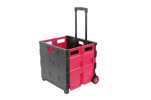 1PLUS XXL klappbarer Transport-Trolley Einkaufstrolley Klappbox Transportwagen Einkaufsroller, 100 x 38 x 42 cm (H x L x B), Volumen: 46 Liter, (Schwarz/Rot)