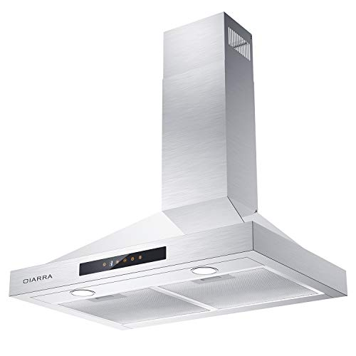 30 inch Range Hood, CIARRA 450 CFM Stainless Steel Vent Hood with 3 Speed Exhausted Fan, Touch Control Wall Mounted Stove Hood for Kitchen, Ducted & Ductless Convertible