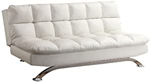 Two-position convertible sofa features thickly padded and tightly upholstered with leatherette upholstery Pub-style upholstered profile with extra padded cushioning; Chrome-plated base; Fire retardant foam upholstered fill Perfect for a small apartme...