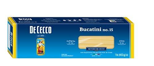 De Cecco Semolina Pasta, Bucatini No.15, 1 Pound (Pack of 5)
