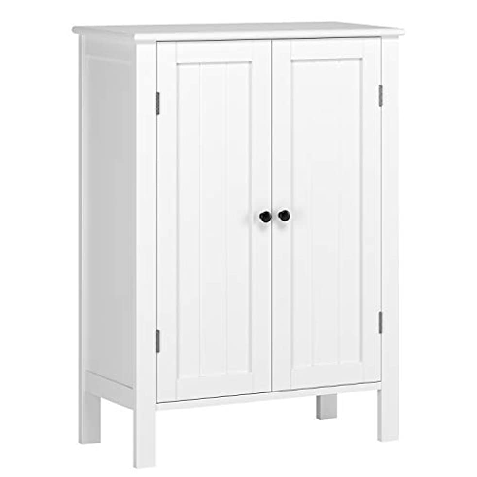 HOMFA Bathroom Floor Cabinet, Free Standing Side Cabinet Storage Organizer with Double Doors and Adjustable Shelf for Home Office, White