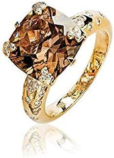 AL Liali Jewellery Women's Smoky Quartz - Nouf Ring, 7 US, 0.37 Carat, Yellow