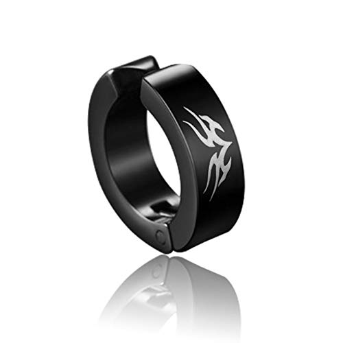 WDam 1 Pieza Punk Pendientes de Clip de Acero de Titanio para Hombres y Mujeres patrón de impresión Negro sin Perforaciones círculo de Oreja Falsa Estilo de joyería 11