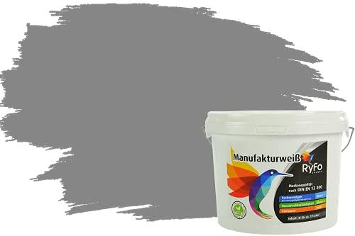 RyFo Colors Bunte Wandfarbe Manufakturweiß Staubgrau 3l - weitere Grau Farbtöne und Größen erhältlich, Deckkraft Klasse 1, Nassabrieb Klasse 1
