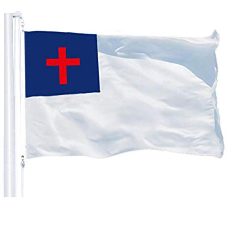 G128 – Christian Flag | 3x5 feet | Printed 150D – Indoor/Outdoor, Vibrant Colors, Brass Grommets, Quality Polyester, Much Thicker More Durable Than 100D 75D Polyester