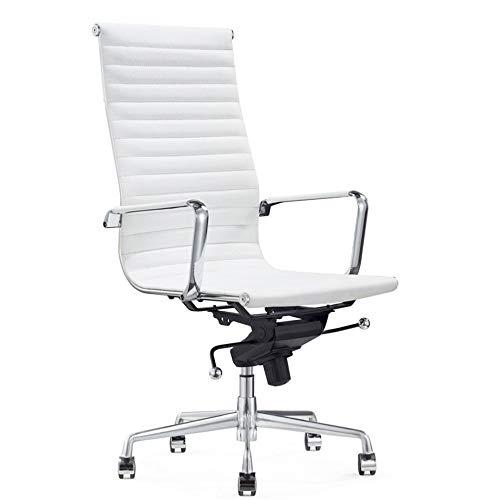 Vivol Madrid Schreibtisch Stuhl Echt Leder Weiß | Design Bürostuhl Ergonomisch | 100% Leder Bürostuhl 120 kg | Drehstuhl mit Rollen und Armlehnen
