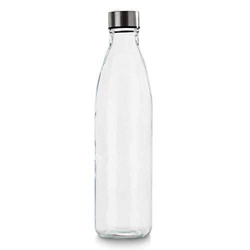 BrandPrint, Bottiglia in Vetro per Acqua Modello Ermes 1 Litro con Tappo a Vite in Acciaio Inox. per Bevande e Succhi.