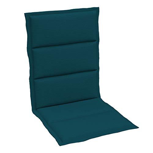 OUTLIV. Polsterauflage Dessin 401 Stapelsessel-Auflage 108x46x3 cm Sitz- Rückenkissen Petrol Sitzauflage für Gartensessel und Gartenstuhl