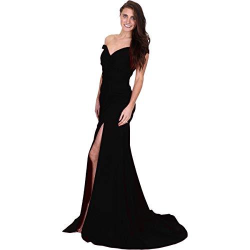 JVN by Jovani Womens 50409A Prom Off-The-Shoulder Evening Dress Black 4