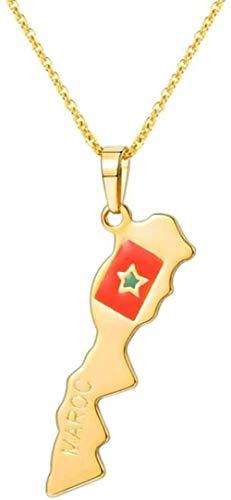 Collar Brasil/India Mapa de la nación 15 países Collar Colgante de Color Dorado para Mujeres/Hombres Regalo de joyería
