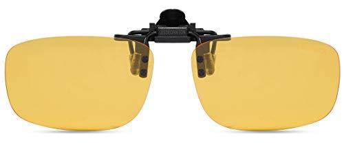 JESSIEDANTON HD Night Vision Polarized Clip-on Flip Up Metal Clip Rimless Sunglasses, Lightweight, L Size, Yellow Lens