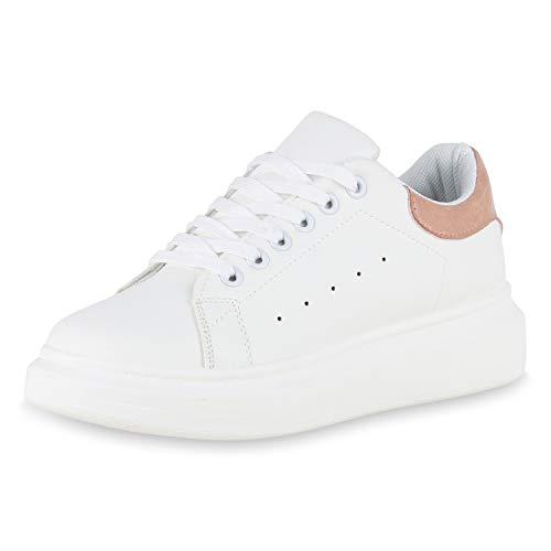 SCARPE VITA Damen Plateau Sneaker Basic Turnschuhe Schnürer Plateauschuhe 175694 Weiss Pink 38