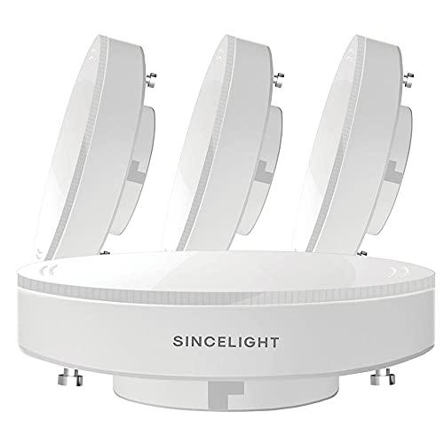 SINCELIGHT Bombilla reflectora LED GX53, 7 W (equivalente a 50-60 W), blanco frío 6000 K, se adapta a GX53, unidades de cocina, vitrinas e iluminación debajo del estante, paquete de 4