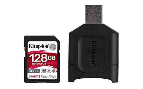 Kingston MLPR2/128 GB Tarjeta SD + Lector de Tarjeta (128 GB SDXC React Plus SDR2 + MLP Lector SD)