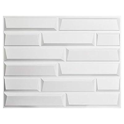 "Art3d Decorative 3D Panels Sandstone Design Pack of 6 Tiles Cover 32 SqFt,Size 24.6""x31.5"",Plantfiber in Primitive White"