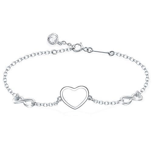 Tusuzik 925 Sterling Silver Infinity Heart Endless Love Symbol Adjustable Bracelet for Women Girls