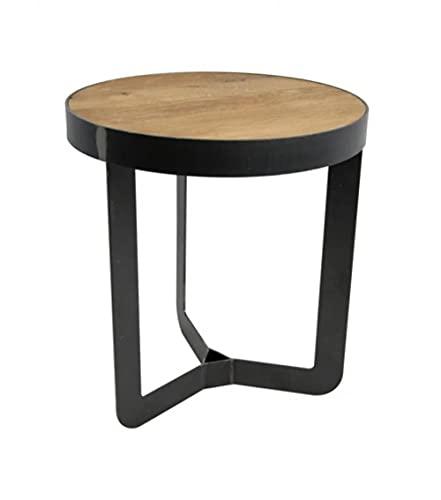 Spinder Design Douglas Lot de 2 tables d'appoint en fer forgé et chêne Ø 41 x 40 cm