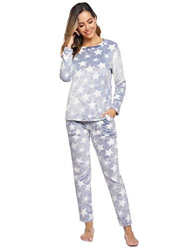 Aibrou Pijamas Mujer Invierno Mangas Larga Franela