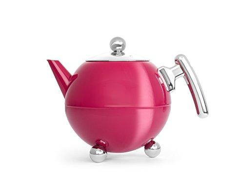 Bredemeijer Theepot Bella Ronde, roze, beslag chroomkleuren, 1,2 l, roestvrij staal, roze, 161x248x181mm