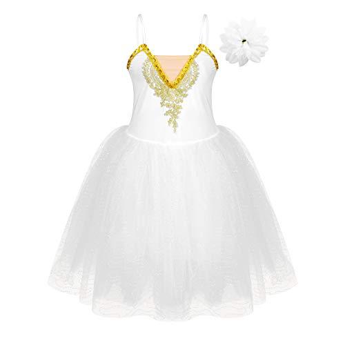 TiaoBug Vestito da Danza Classica Donna Tutu Vestito da Balletto Ballerina Abito in Tulle con Fascia a Fiore Body da Pattinaggio Artistico Swan Ballet Dress Lago dei Cigni Bianco L