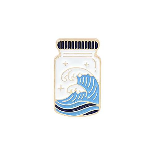 Blue Nature Pin Smalto Personalizzato Oceano Mountain Universo Spille Borsa Da Risvolto Pin Carino Cartoon Badge Gioielli Regalo Per Bambini Amici