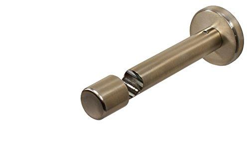 Edelstahl Optik Wandträger / Deckenträger für Gardinenstangen mit 16 mm Durchmesser, 9 cm