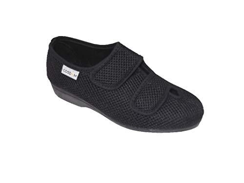 Zapatilla de Calle/Mujer/Cosdam/Ancho Especial/Empeine Téxtil/Suela de Goma/Color: Negro/Cuña 3 cm/Talla 37