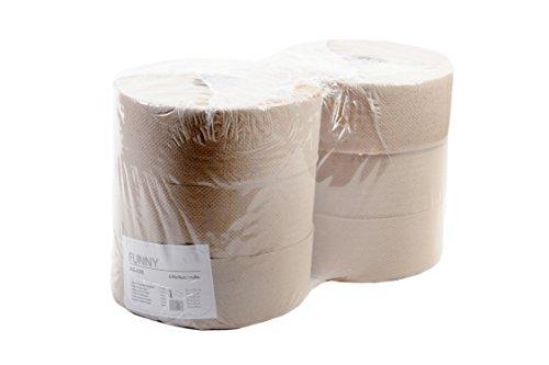 Funny AG-026 Jumbo toiletpapier, 1-laags, gerecycled, natuur, diameter 25 cm (6-pack)